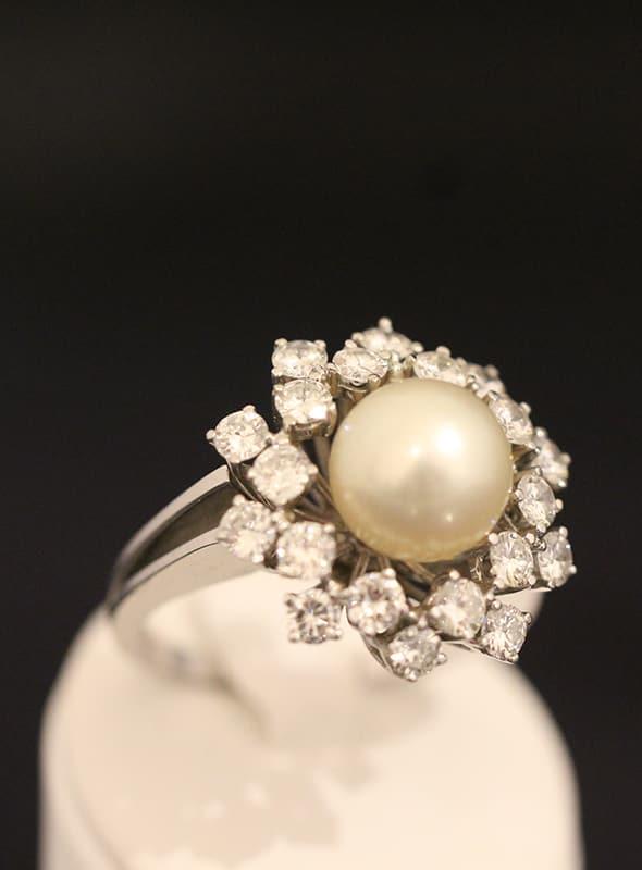 ring mit perle und diamanten
